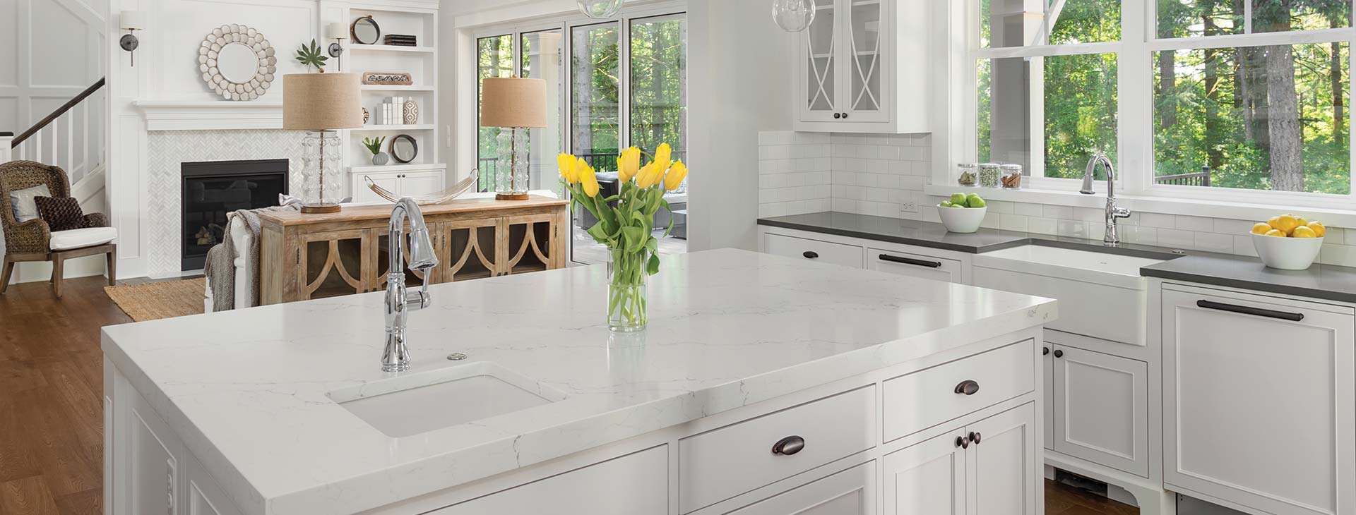 Traditional white kitchen with stainless steel tapware