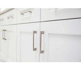 White doors and drawers style with stainless steel handles